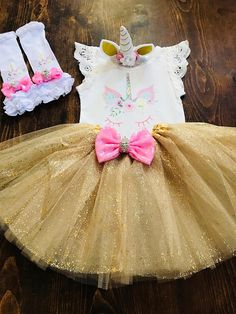 Gorgeous Unicorn Tutu Set. Comes with Headband, Top, Gold Tutu and Adorable Leggings! Free shipping ❤️❤️  2 week or sooner processing.  Please read shop policies.