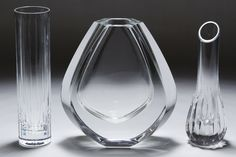 Lot 304: Baccarat Crystal Vase Assortment; Three items marked on the undersides including two bud vases