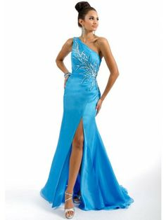 Sheath One-shoulder Applique Beading Satin Evening Dresses