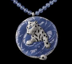 Cartier Boreal Panther Necklace - Platinum, carved chalcedony, sapphires, chalcedony beads, onyx, brilliants.