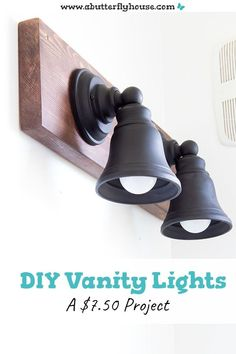Make budget-friendly DIY Vanity Lights for your bathroom! These DIY industrial style lights are a gorgeous upgrade from builder-grade materials! Diy Wood Stain, Diy Vanity Lights, Diy Bathroom, Wood Light Fixture, Lights, Diy Light Fixtures, Industrial Vanity, Diy Bathroom Vanity, Diy On A Budget