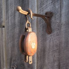 Vintage Block and Tackle with Cast Iron Wall Hook.