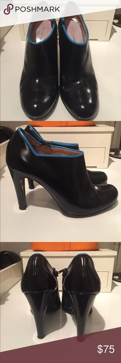 """Marc by Marc Leather Booties Black leather booties with teal piping along the ankle. 4"""" heel. The bottoms have been resoled to last longer. Some scuffs at exterior and fading at insoles. Marc By Marc Jacobs Shoes Ankle Boots & Booties"""