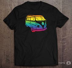 VW Rainbow Camper Sillhouette / Novelty Themed Mens Black T-Shirt by Clayfrogs on Etsy