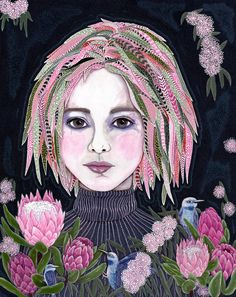 Kate, Has just arrived at Fellia Melas Gallery. Acrylic on poly/cotton canvas Painting Inspiration, Art Inspo, Del Kathryn Barton, Pink Blossom, Australian Artists, Selling Art, Pigment Ink, Collage, Affordable Art