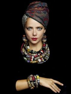 Tribal collection. Statement multistrand colorful necklace by Andresgallardo