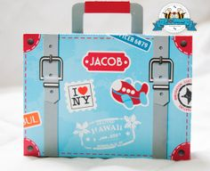 Airplane Party Suitcase Favor Box - Airplane Party Personalized printables will save you time and money while making your planning a snap! Airplane Baby Shower, Airplane Party, Pink Party Tables, Planes Party, Christmas Party Themes, Travel Party, Party Packs, Favor Boxes, Giveaway
