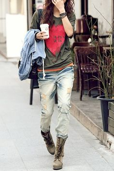 layers and light wash denim with scruffed up boots --  I am totally in the mood for spring