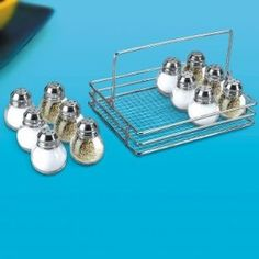 Salt and Pepper Shakers Set of 12 Includes Tray - round - others are square