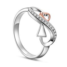 SWEETIEE&reg Awesome 925 Sterling Silver Finger Ring, Micro Pave Cubic Zirconia Infinity with Rose Gold Plated HeartPSize: about 19mm inner diameter, 10mm wide; pPacking size: 53x53x37mm.