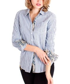 Loving this Dusty Blue Stripe Button-Up on #zulily! #zulilyfinds