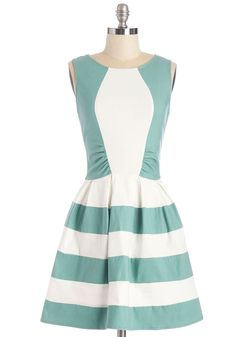 Happiest Hodgepodge Dress. You have a bevy of errands to run today - everything from the post office to the paperie - so you set out for your morning of miscellany in this colorblocked dress! #mint #modcloth
