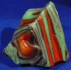 "Small chunck of ""Watermelon"" cullet from the Akro Agate Co., Clarksburg, WV ... at least 90 years old."