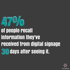 #industryweapon #digitalsignage #stats #statistics #digital #signage #communication #marketing #dynamic #content #audience #viewers #information #retention #dooh #display
