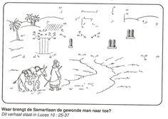 de barmhartige samaritaan brengt de gewonde bij een herberg van stip naar stip gelijkenis