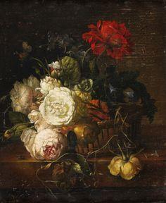 """ESCUELA HOLANDESA S.XVII """"Bodegón de flores"""""""