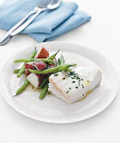 Poached Halibut With Potatoes and Green Beans recipe from realsimple.com #myplate #protein #vegetables