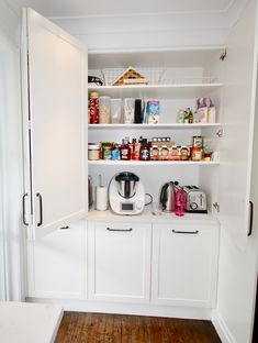 Fitted with bifold doors and adjustable shelving, power points and bench space to create a functional appliance cabinet. Wooden Pantry, Kitchen Pantry Doors, Sliding Pantry Doors, Pantry Closet, Closet Storage, Appliance Cabinet, Kitchen Appliance Storage, Pantry Interior, Interior Barn Door Hardware