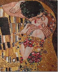 Reprodução em bordado da tela The kiss, de Klint por Sandra Bessi