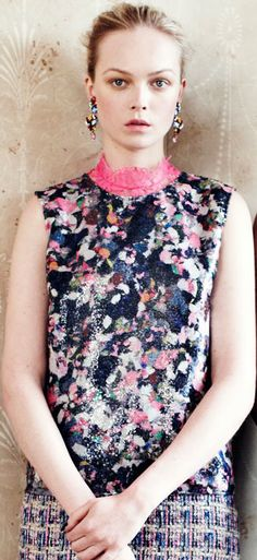 Erdem ss13, abstract floral print top