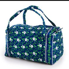 Quilted Fabric Duffel Bags: Floral Navy Print