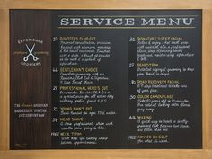 Barbershop Chalkboard Menu - Chalk It Up Signs
