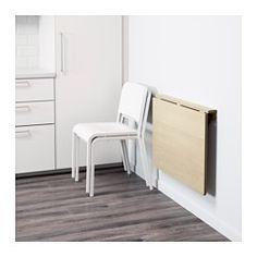 IKEA - NORBO, Mesa rebatível p/parede, Dobrável; poupa espaço quando não está a uso.A madeira maciça é um material natural resistente.