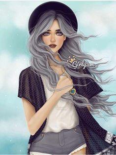 Imagen de girly_m, art, and drawing Tumblr Drawings, Girly Drawings, Girly M Instagram, Princesse Disney Swag, Sarra Art, Chica Cool, Cute Girl Drawing, Girl M, Disney Drawings