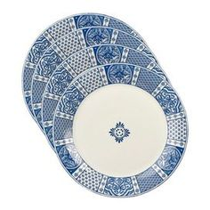 Set a delightful tablescape for your guests to enjoy with this charming design.  Product: Dinner plateConstruction Material: StonewareColor: Blue and ivoryDimensions: 11 Diameter Cleaning and Care: Dishwasher and microwave safe.