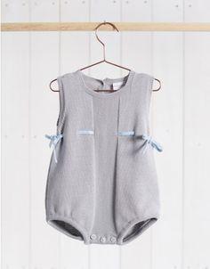 Neck & Neck Children's Fashion, Baby Knit Romper, Urban Baby Outfit, Knit Beige and Blue Onesie