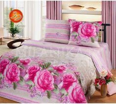 Купить постельное белье серого цвета с фиолетовыми полосами и крупными цветами Верона бязь в интернет-магазине