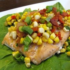 Grilled Salmon with Bacon and Corn Relish - Allrecipes.com