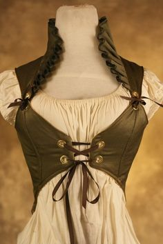 Green Ruffle Empire Pirate Corset XS by damselinthisdress on Etsy
