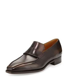 CORTHAY MASSAI CALF LEATHER LOAFER WITH OLD BLACK PATINA, TAN. #corthay #shoes #