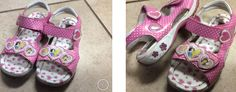 Disney Princess size 11 girls Velcro strap girls pink sandals with princesses and hearts. $14