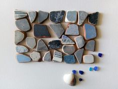 Genuine Sea Pottery, Tiles ,28 pieces in Blue and Grey shades Tiles, Pottery, Shades, Stud Earrings, Sea, Blue, Etsy, Room Tiles, Ceramica