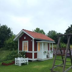 Shed Plans Against House Red Houses, Cubby Houses, Play Houses, Outdoor Storage Sheds, Outdoor Sheds, Outdoor Retreat, Shed Building Plans, Shed Plans, Garage Plans