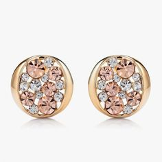Openwork Multicolored Crystal Round Earrings ($6.95) via Polyvore