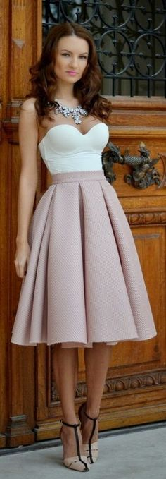 high waist blush tulip skirt
