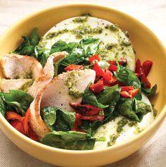 NOMMMM. Panera roasted turkey raised without antibiotics, egg whites, warm baby spinach, roasted peppers, basil pesto, salt and pepper.