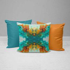 Orange Throw Pillows, Colorful Throw Pillows, Green Pillows, Accent Pillows, Green Pillow Cases, Orange Pillow Covers, Throw Pillow Covers, Patio Pillows, Throw Cushions