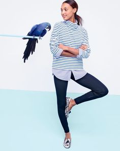 Hello, sailor. Our J.Crew women's sailor-stripe funnelneck T-shirt in structured cotton feels like something a French mariner would wear. A French mariner who likes being very, very comfy.