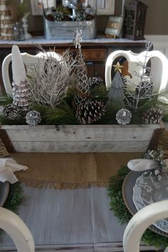 Christmas Dining Room silver gold white centerpiece with christmas trees