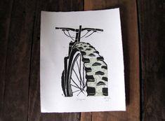 Mountain Bike Art Custom Topo Map Linocut Relief by CoffeeInBed, $53.00