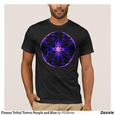 Flames Tribal Tattoo Purple and Blue T-Shirt