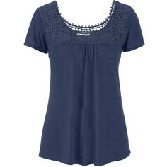 maurices Lightweight Tee With Crocheted Yoke ($26) ❤ liked on Polyvore