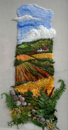 This is an amazing idea for year 12 for a mtp - 3 dimensionalFern Hill von Roslyn Source byFern Hill love the dimension of the foregroundLook at the textile art our group members have created, and where our next exhibitions will be. Learn about the tutors Art Fibres Textiles, Textile Fiber Art, Textile Artists, Weaving Textiles, Weaving Art, Tapestry Weaving, Weaving Projects, Art Projects, Wet Felting