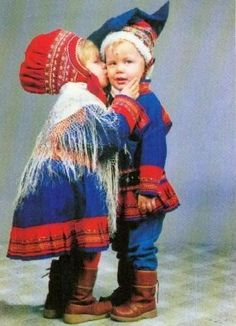 Cute pair of Finnish Sami children in traditional costumes of Lapland Cool Baby, We Are The World, People Of The World, Precious Children, Beautiful Children, Folklore, Scandinavian Countries, Iron Age, Lofoten
