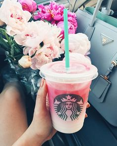 Pink ombre drink from Starbucks and pink peonies #Regram via @hkcung