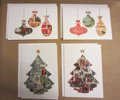 Christmas Cards: ornaments  Christmas tree  recycled